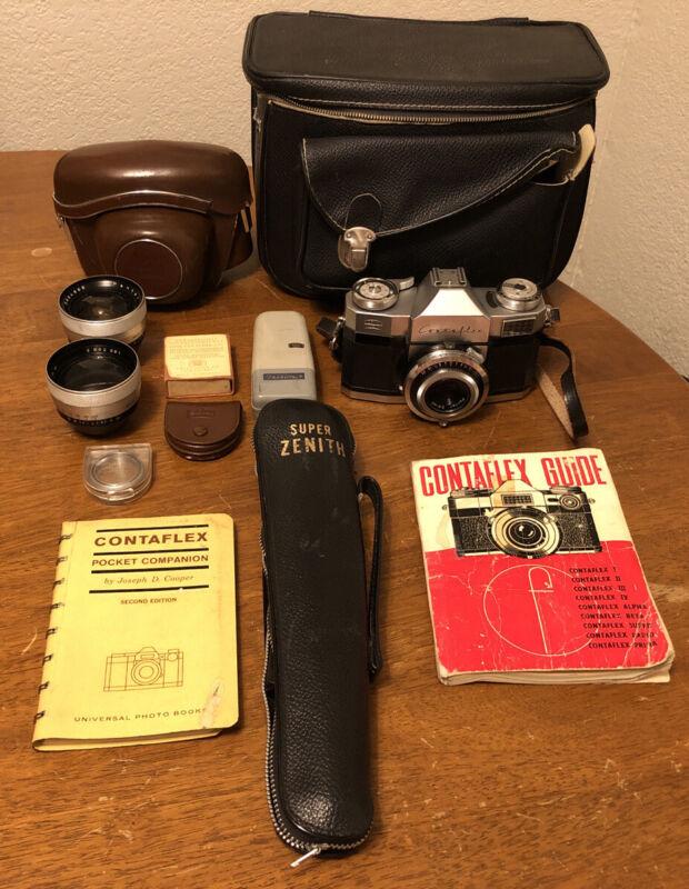 Vintage Zeiss Ikon Contaflex 35MM Camera Pantar Lenses 5 Tripod Case Lot Germany