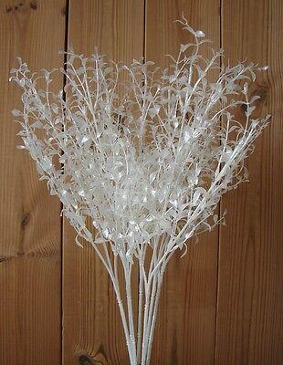 24 künstliche Zweige weiß mit Glitzer 65cm Beistecker Kunstblumen Kunstpflanzen