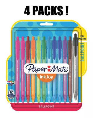 4 Lot Paper Mate Inkjoy 100rt Retractable Ballpoint Pens Medium Point Assorted