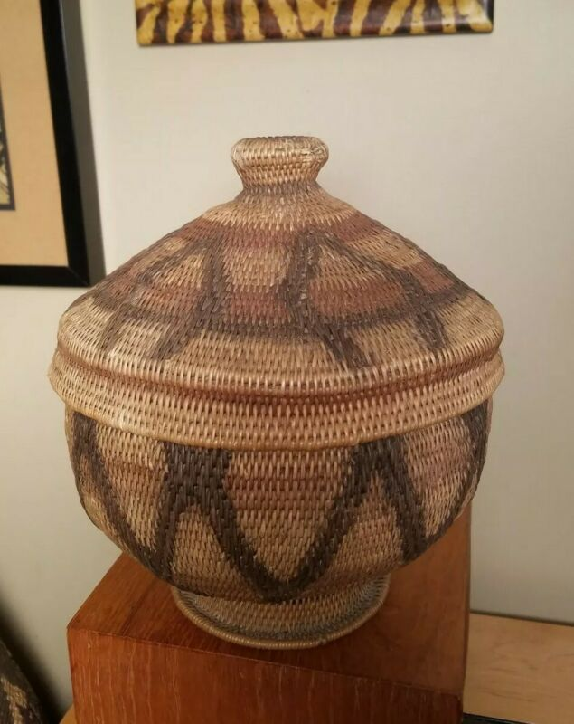VTG 1960s African Makenge Root Footed Basket with Lid-Zambia, Handmade Authentic