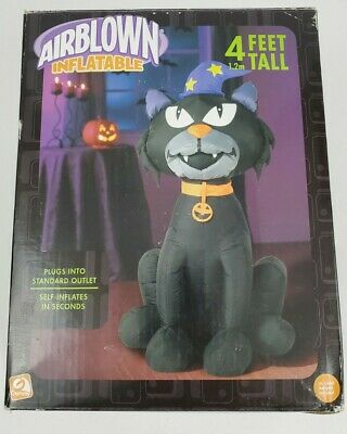 Halloween Airblown Inflatable Black Cat 4 Foot Tall Halloween Decorations Gemmy