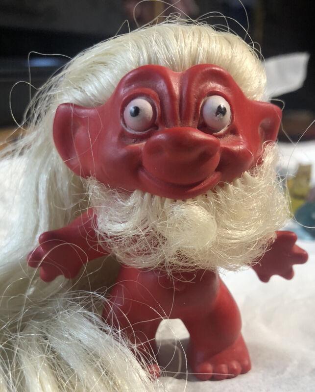 Vintage Rare Red Troll With Beard Blonde Hair  Devil?
