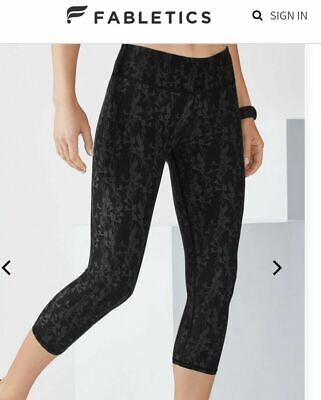 FABLETICS mid rise PowerHold black capri Salar leggings pants NEW XS RRP £57