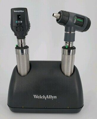 Welch Allyn Ni-cad Desk Charger Set Macroview Otoscope Ophthalmoscope 71641-m