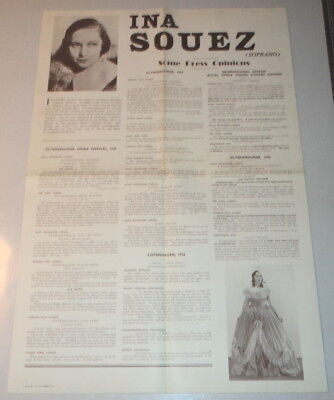RARE 1936 Promotional Poster INA SOUEZ (SOPRANO) SOME PRESS OPINIONS - Cherokee