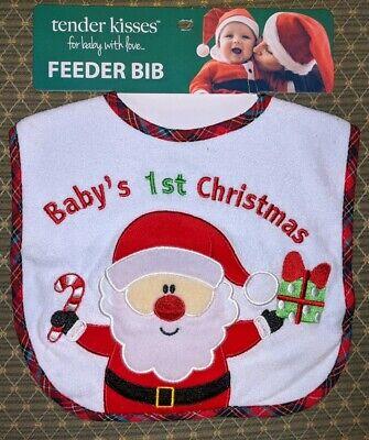 Baby's First 1st Christmas Bib - Santa - Holiday - Tender Kisses - Brand New