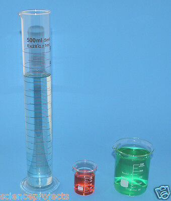 Beaker Set 250ml 50ml Cylinder 500ml Borosilicate Glass Griffin Beakers New Lab