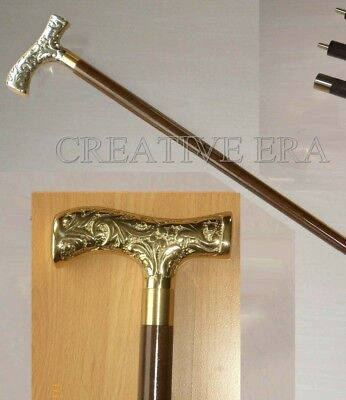 - ANTIQUE BRASS VICTORIAN BRASS HANDLE Walking Stick Cane 90 CM Long Vintage cane