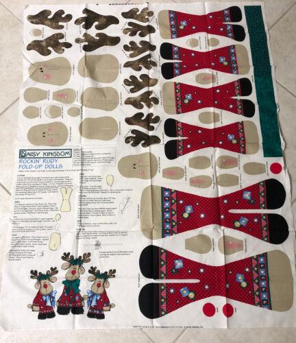 Daisy Kingdom Rockin Rudi Fold Up Dolls Cotton Fabric Panel OOP Vintage - $6.49