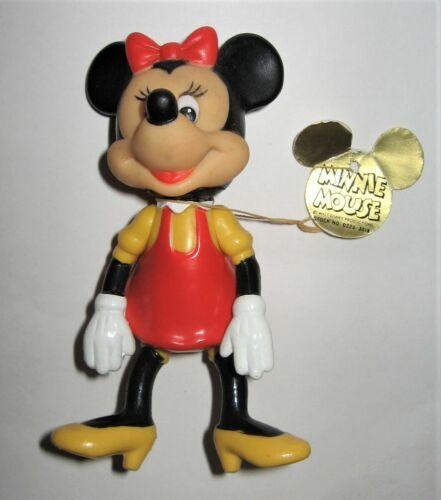"VTG Minnie Mouse Doll Plastic Posable Walt Disney Prod Orig Tag Hong Kong 5 1/4"""
