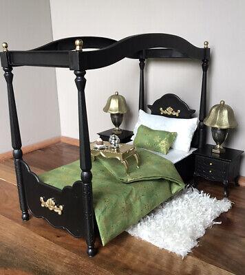 OOAK Barbie 1:6 Scale Furniture Bedroom Lamps Tables Bed Diorama