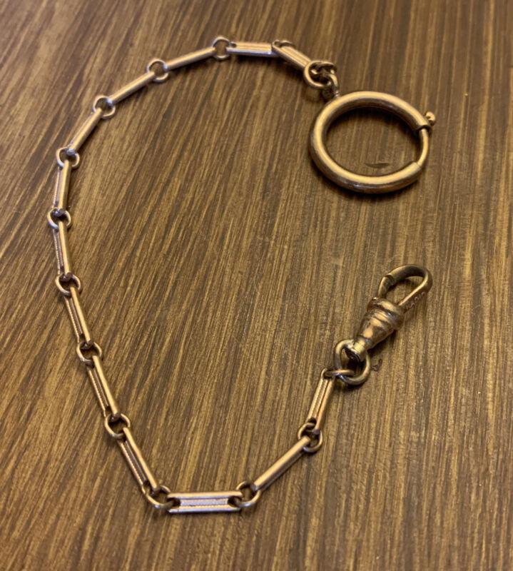 "ANTIQUE ""RAD10"" 12K Gold Filled Watch Chain Vintage Men's Women's Jewelry"