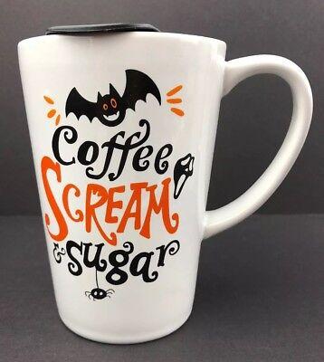 Halloween Coffee SCREAM & Sugar Mug Travel  Cup Lid Bat Spider Mask 13.2 - Halloween Coffee Travel Mugs