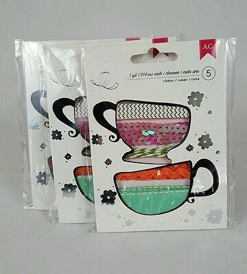 (3) Packs American Crafts Premium Ribbon Assortment 89429 5 Yards Soho Garden