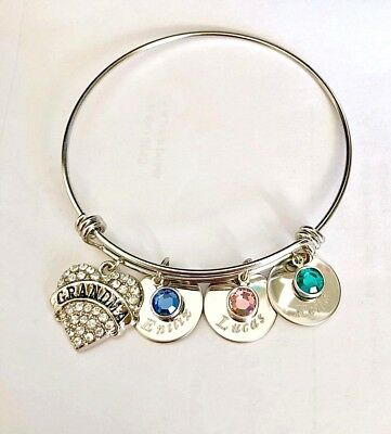 Personalized Name/ birthstone Grandma heart charm Stainless Steel bangle