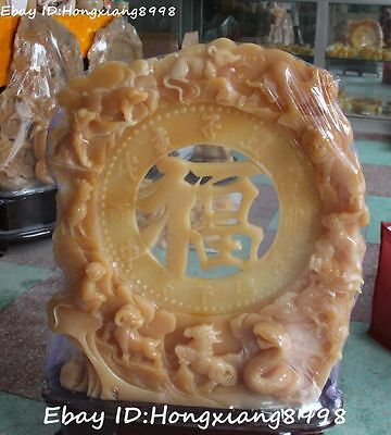 "32"" Rare Chinese Yellow Jade Carving 12 Zodiac Year Dragon Horse Fu Word Statue"