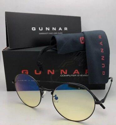Neu Gunnar Computer Brille Ellipse 51-18 Onyx Schwarz Rahmen Amber Gelb Linsen