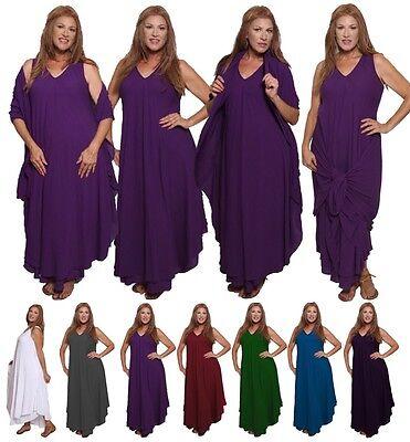 Magic Wrap Kleid (Vintage Moroccan Magic Maxi Dress- Layered Wrap Rayon Crinkle- V773 LotusTraders)