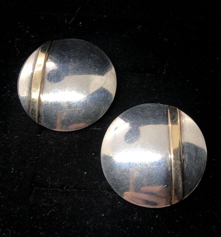 Vintage 14k Gold Sterling Silver Earrings 925 Lenore Doskow Modernist Round