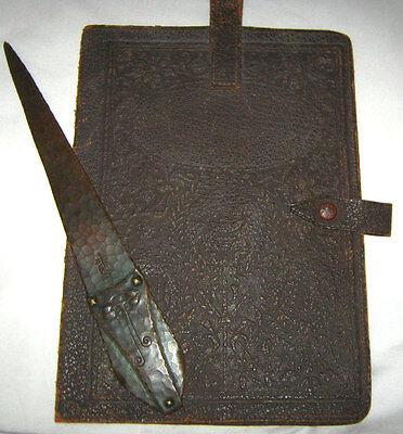 ANTIQUE ROYCROFT MISSION ARTS CRAFTS COPPER LETTER OPENER KNIFE PAPER PAD HOLDER