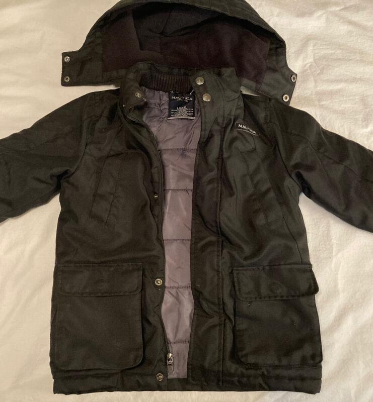 Nautica Black Boys Winter Coat Size 6/7 Warm Puffer Jacket Classic Hooded
