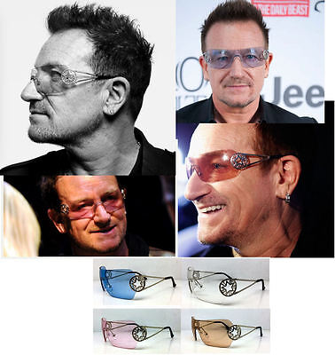 Bono Sunglasses Shield Star Multi Color Concert Tour Blue Pink Brown Clear Sale