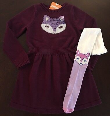 NWT Gymboree Girl Woodland Weekend Fox Sweater Dress &Tights 4 5 6 10