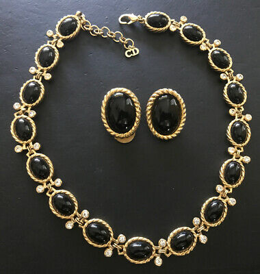 Christian Dior Black Cab, Crystal, Braided Gold Tone Necklace Earring Set