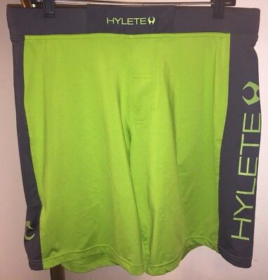 Mens Hylete Crossfit Training Shorts  Sz Large   Above Knee   Lime Dark Gray