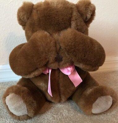 """EUC Mango Peek a Boo Pals Chocolate Brown Teddy Bear Plush Magnets 10"""" (A2)"""