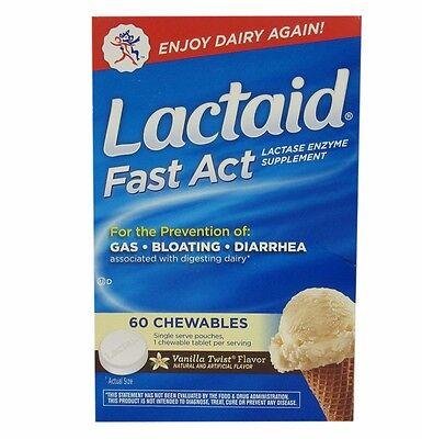 Lactaid Fast Act Lactase Enzyme Supplement 60 Chewables