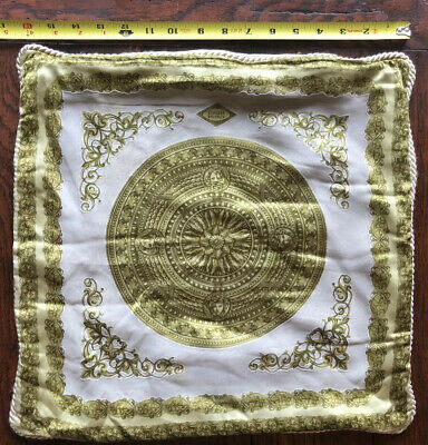 Vintage VERSACE HOME COLLECTION Green Gold White Pillow Cover