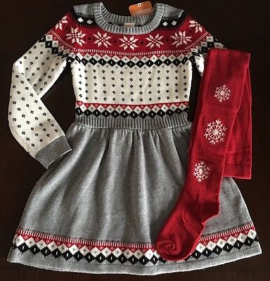 New Gymboree Girl Holiday Shop Red Fair Isle Dress  Tights Set Size 4 5 6 7 8 10