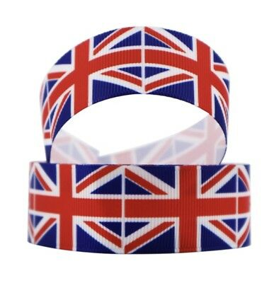 Flag Ribbon (By the Yard 1 Inch Printed Flag United Kingdom British Grosgrain Ribbon)
