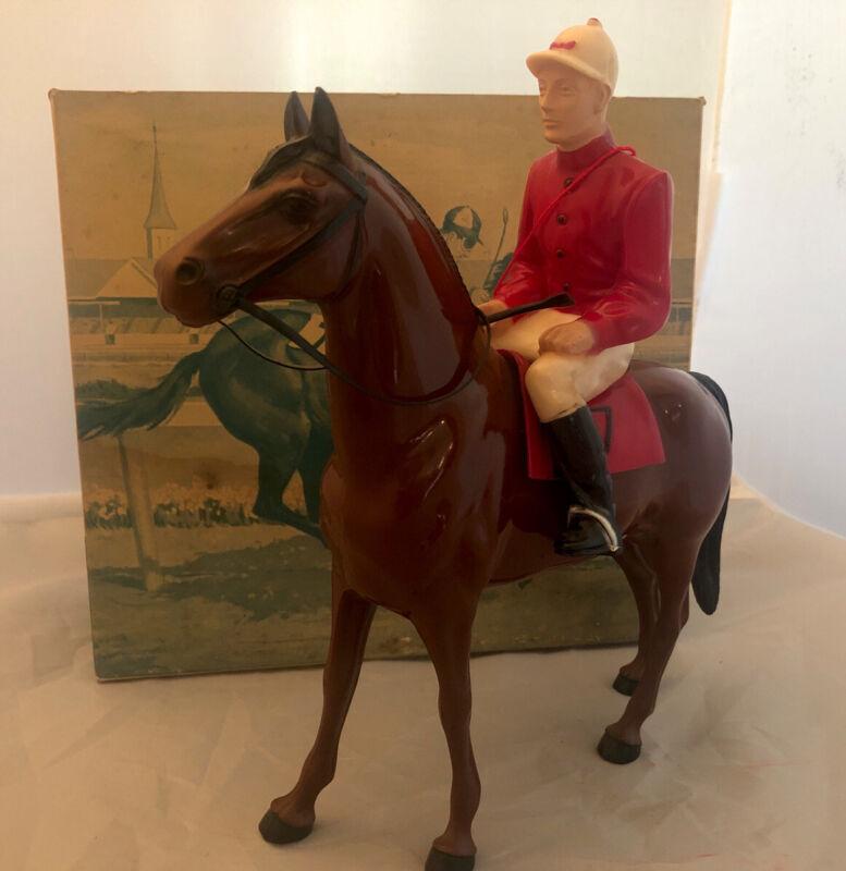 Hartland Turf King & Jockey Vintage Race Horse  Figurine w/Rider,Saddle And Box