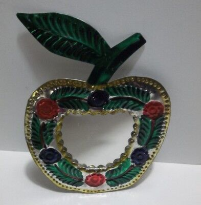 Vintage Mexican Folk Art Punched Pierced Tin APPLE MIRROR Christmas Ornament