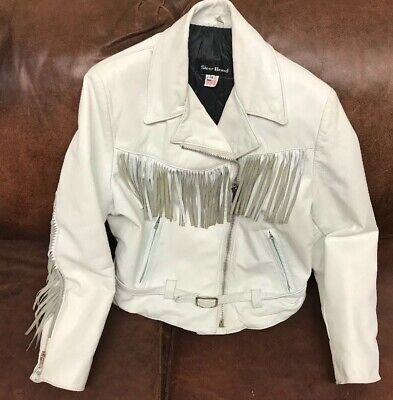 White Steer Brand Leather Jacket Womens Fringed Motorcycle Biker Womens Sz
