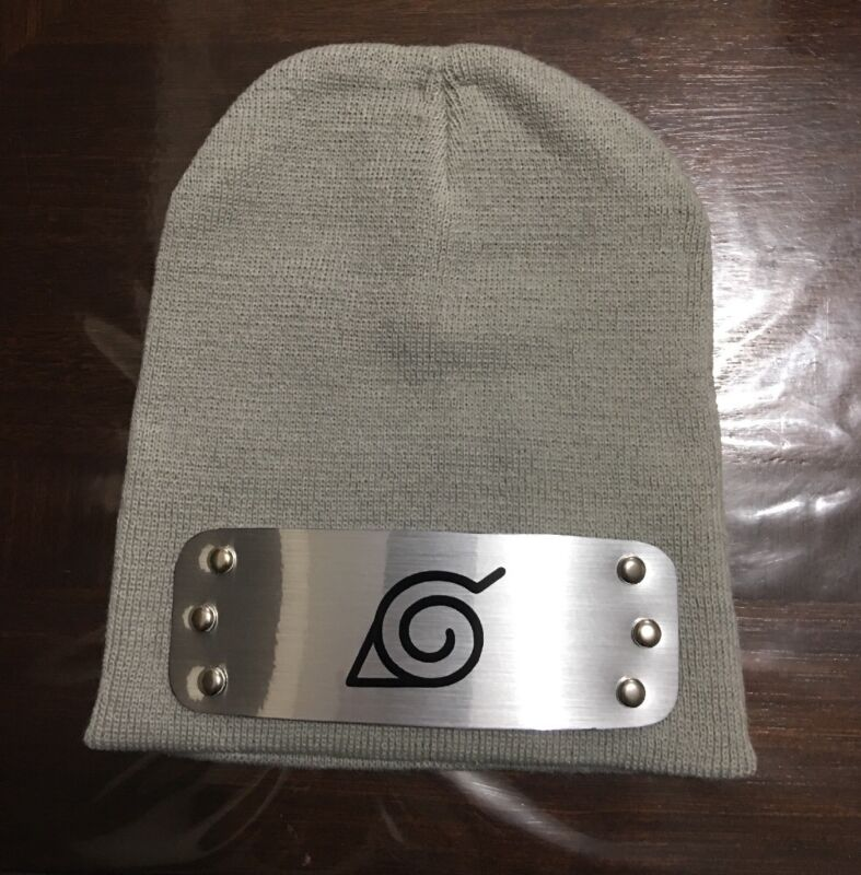 BEST NARUTO BEANIE HAT CAP Light Gray looks like Naruto Konoha Cosplay Ski Ninja