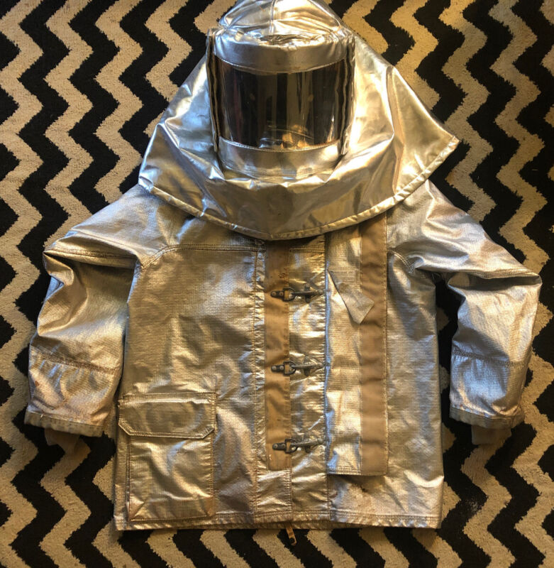 VINTAGE ALUMINIZED RESCUE FIREMANS HOOD W/HARD HAT AND JACKET