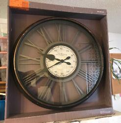 Wall Clock Round Plastic Analog Quartz Movement Open Back Design in Black Finish
