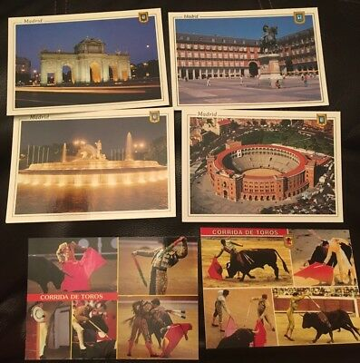 Lot of 6 Vintage Postcards From Madrid - Landmarks Bullfighting Corrida De Toros