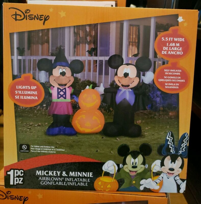 5.5 ft. Pre Lit AirBlown Inflatable Halloween Mickey and Minnie nib