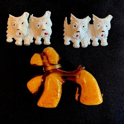 3 Headed Dog Costume (3 Vtg DOG PINS 2 White Scottie Dogs Swivel Head Pins 1 DOLIET Paris Ceramic)