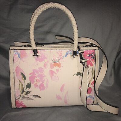 GUESS Blush Pink Multi Floral Print Satchel Handbag Purse Crossbody Bag RARE NWT