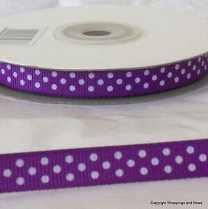 Full 25 mtrs Polka Dot Grosgrain Ribbon 10mm wide *Choose Colour* Spotty / Dotty