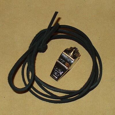 ACME THUNDERER METAL WHISTLE WITH BLACK LEATHER LANYARD MADE IN ENGLAND