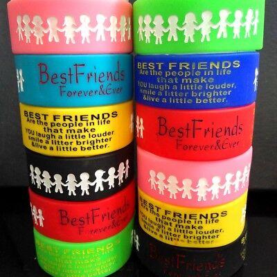 30 Colorful Best Friends Silicone Bracelets Friendship Flexible Rubber