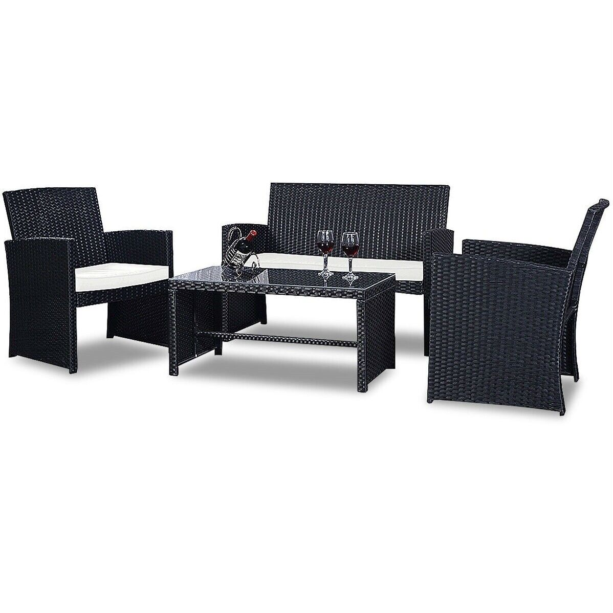 Garden Furniture - PREMIUM NEW GARDEN RATTAN FURNITURE SET 4 PIECE CHAIRS SOFA TABLE OUTDOOR PATIO