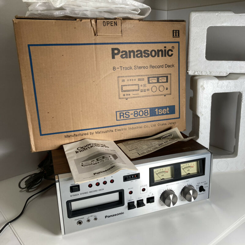 Panasonic RS-808 Vintage Stereo 8 Track Tape Deck w/Box. MIB -Fresh Belts
