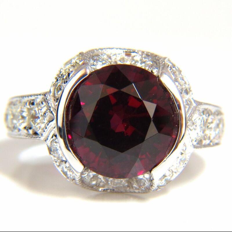 $6000 7.00CT NATURAL ROUND CRIMSON RED HESSONITE GARNET DIAMONDS RING 14KT